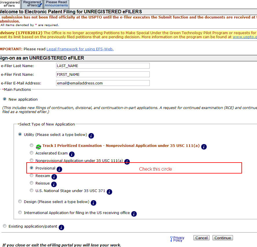 filing provisional patent online